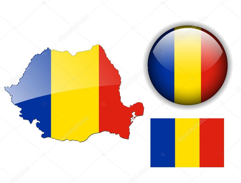 罗马尼亚国旗, 地图和光泽按钮,矢量插图集– 图库插图