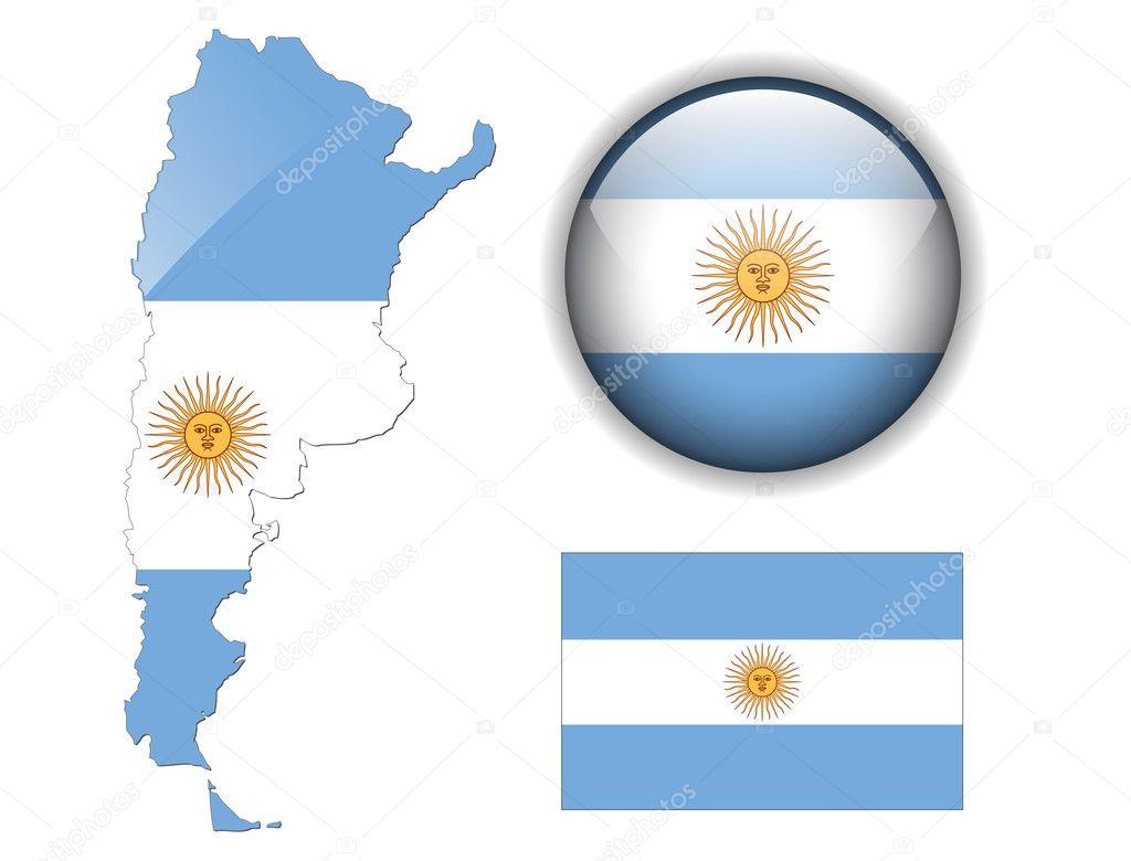 阿根廷国旗, 地图和光泽按钮,矢量插图集– 图库插图