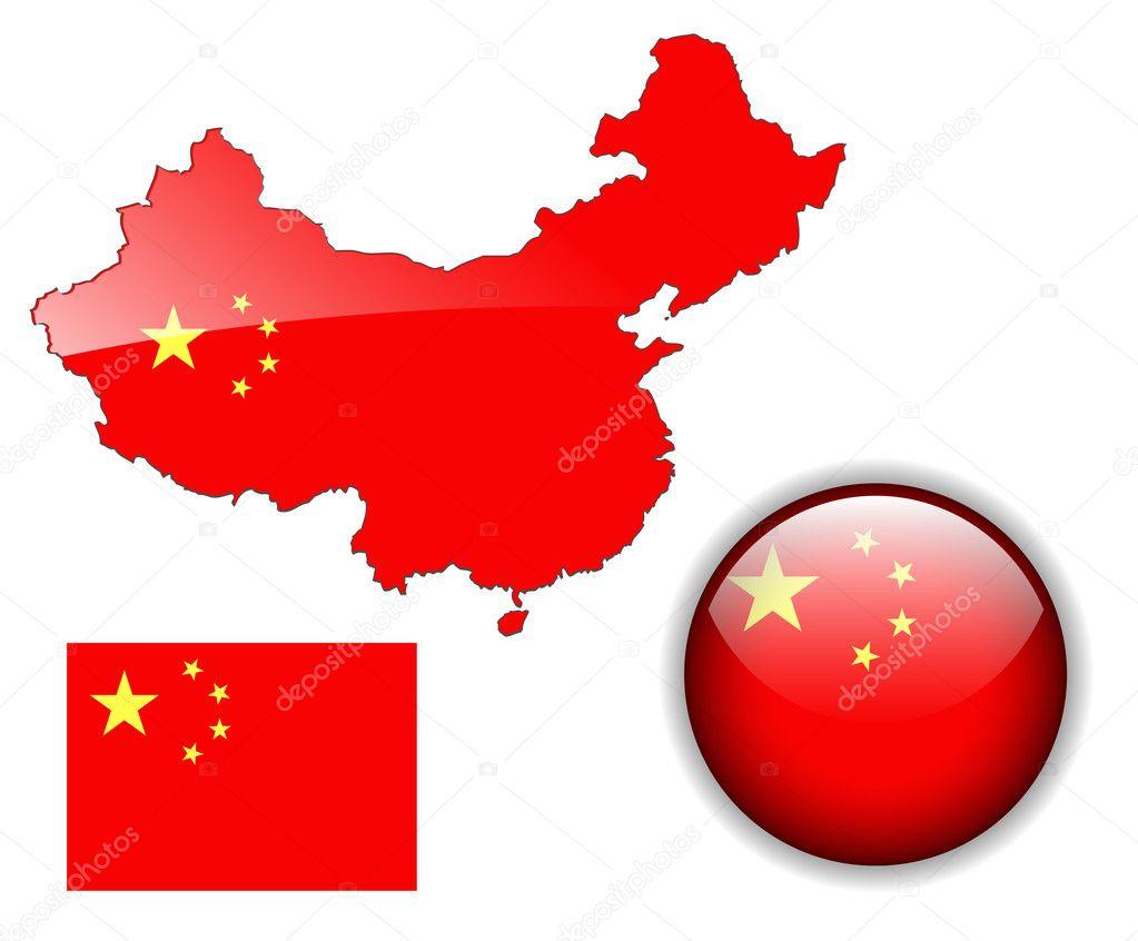 中国国旗, 地图和光泽按钮