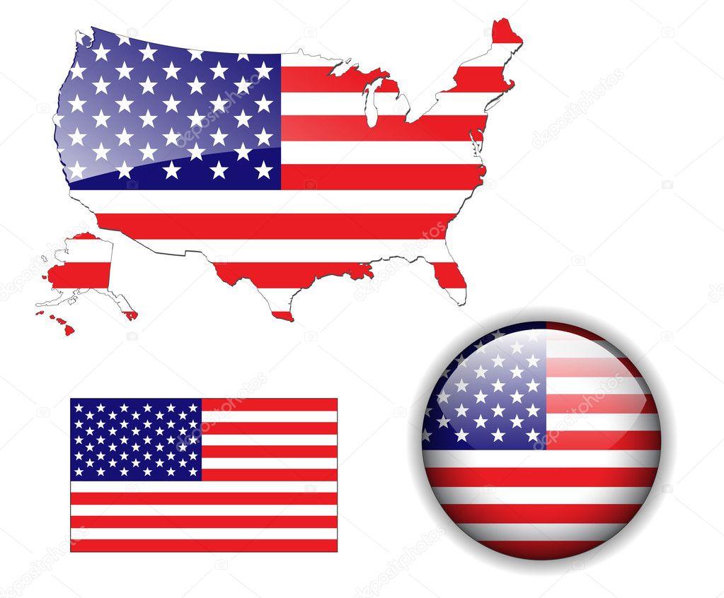 北美美国国旗, 地图和光泽按钮,矢量插图集– 图库插图