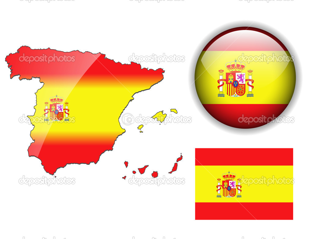 Spain, Spanish flag, map and glossy button, vector illustration set. — Stock Vector #2493328