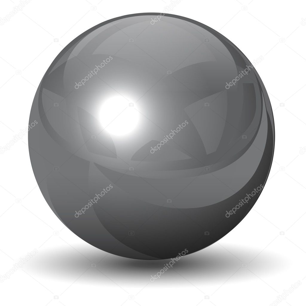 Vector metallic chrome sphere, ball glossy and shining.  Stock Vector #2497384
