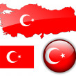 Turkey, Turkish flag, map and button. — Stock Vector