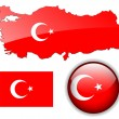 Turkey, Turkish flag, map and button. — Cтоковый вектор #2506930