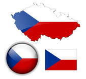 Czech Republic flag, map and button. — Stock Vector