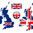 England UK flag, map, button vector set — Stock Vector