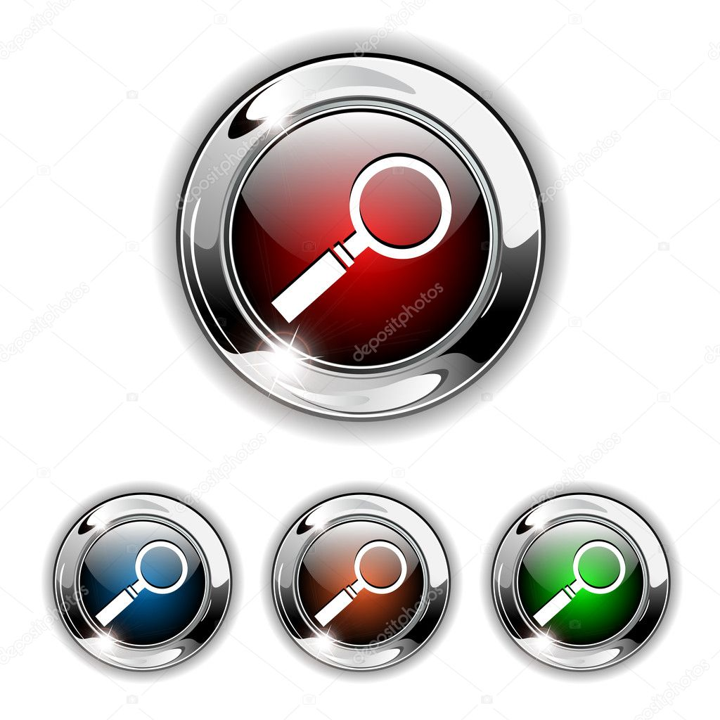 Search icon, button. Realistic vector illustration. — Stock Vector #2545848