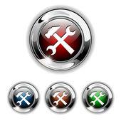 Settings icon, button, vector — Stock Vector