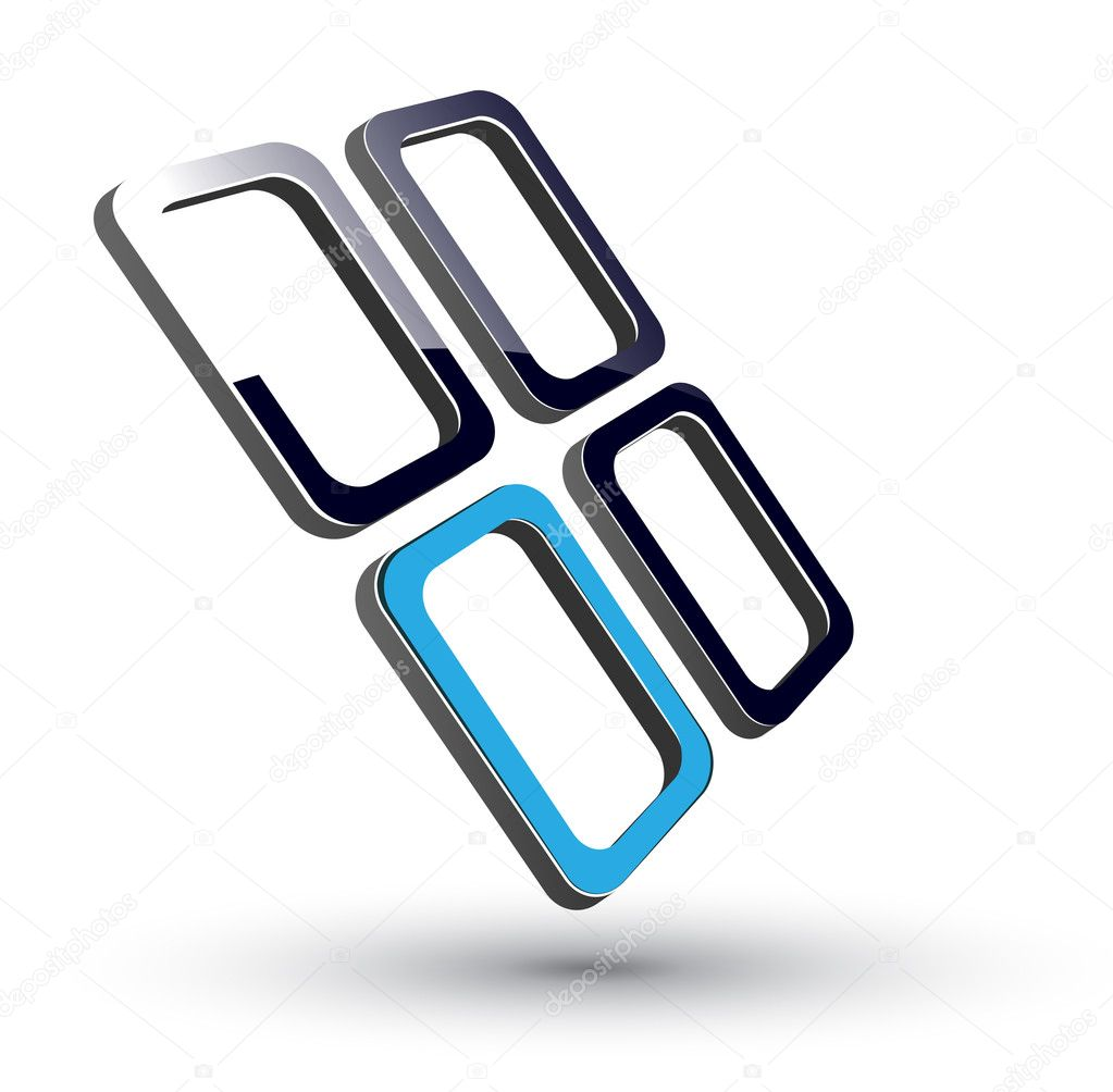 Logo - 3d glossy cubes, black and blue. vector.  Stock Vector #2559457