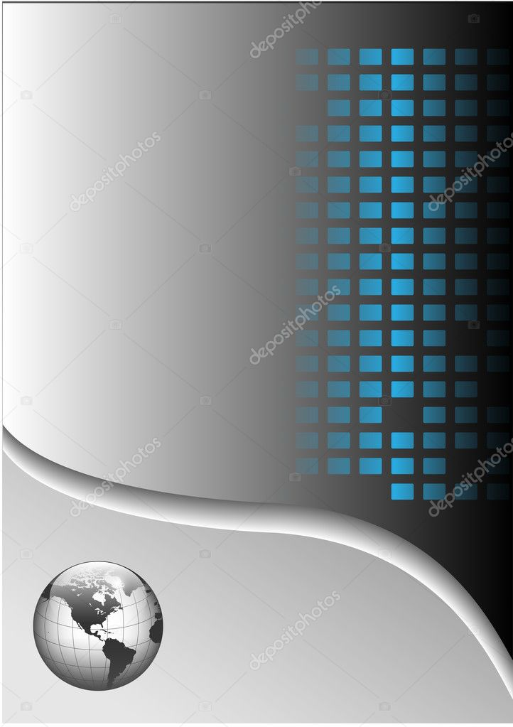 Business background with world globe, grey and blue, vector illustration. — Stock Vector #2657529