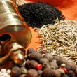 Stock Photo: Hand mill and spices