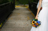 A bride on a bridge — Foto Stock