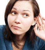 Frau hören — Stockfoto