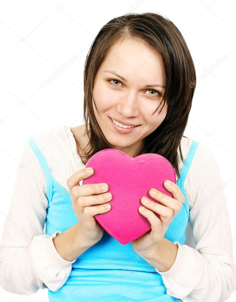 Young woman giving a heart gift  Stock Photo #2532047