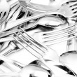 Stok fotoğraf: Shiny spoon, knife and fork