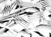 Shiny spoon, knife and fork — Stok fotoğraf