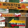 Sign-post with distances to different cities, Ushuaia, Argentina — Stock Photo #2057981