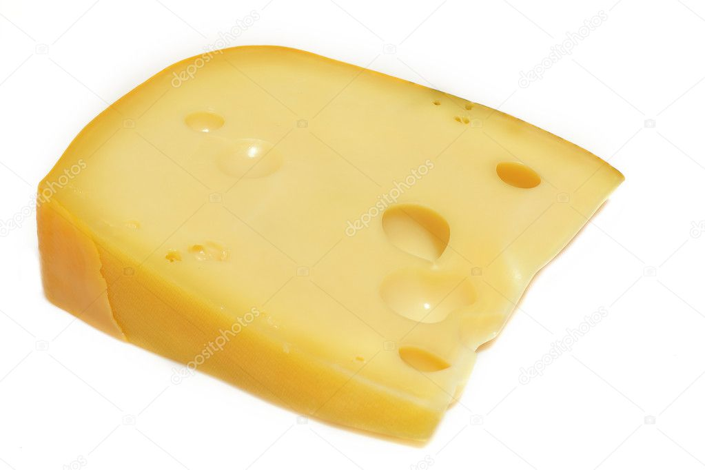 A piece of emmenthal on a white background — Stock Photo #2061546