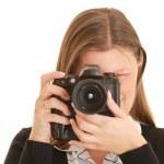 Woman photographer — Stock Photo