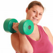 Young woman exercising with weights — Stock Photo #2412504