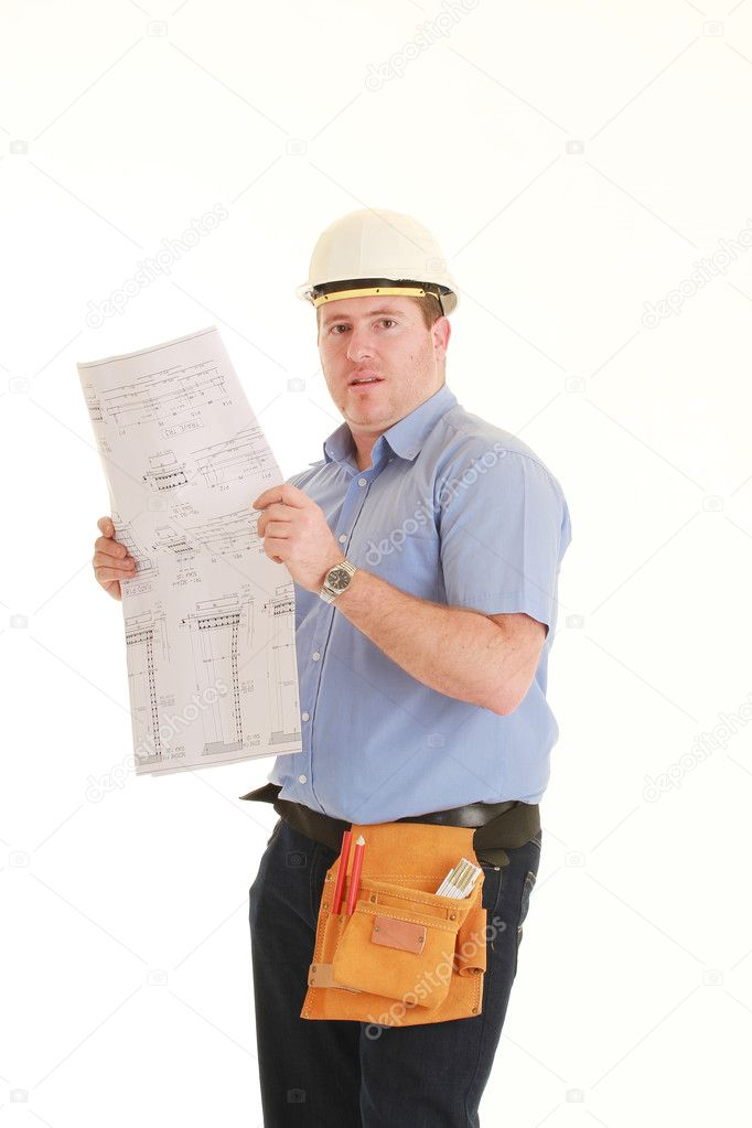 Young architect on white background — Stock Photo #2410878