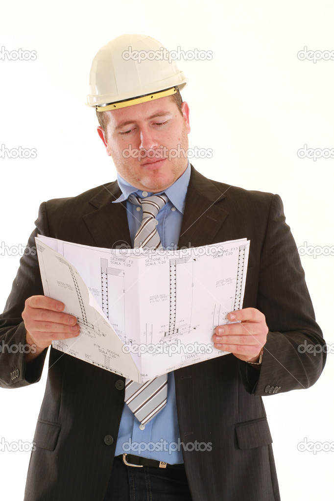 Young architect on white background — Stock Photo #2411031