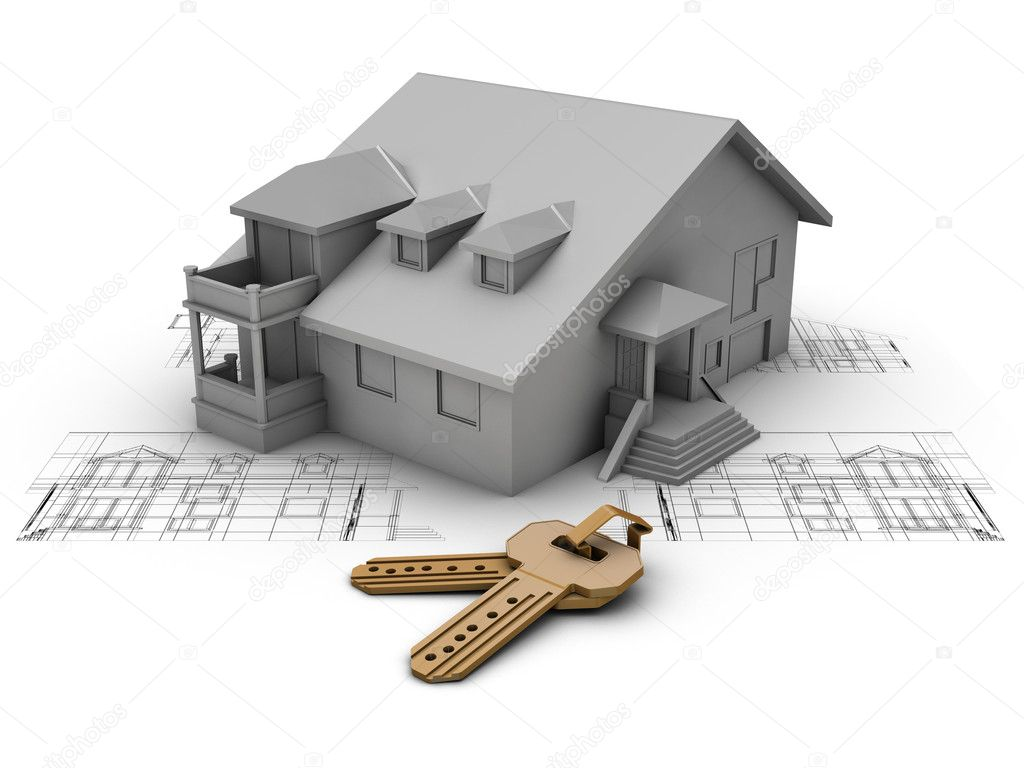 House project with plan and keys — Stock Photo #1935892
