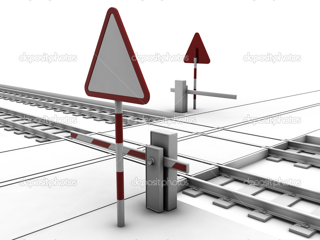 Closed railway crossroad with sign and ramp — Stock Photo #1935969