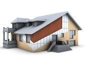 Huis met muur lagen — Stockfoto
