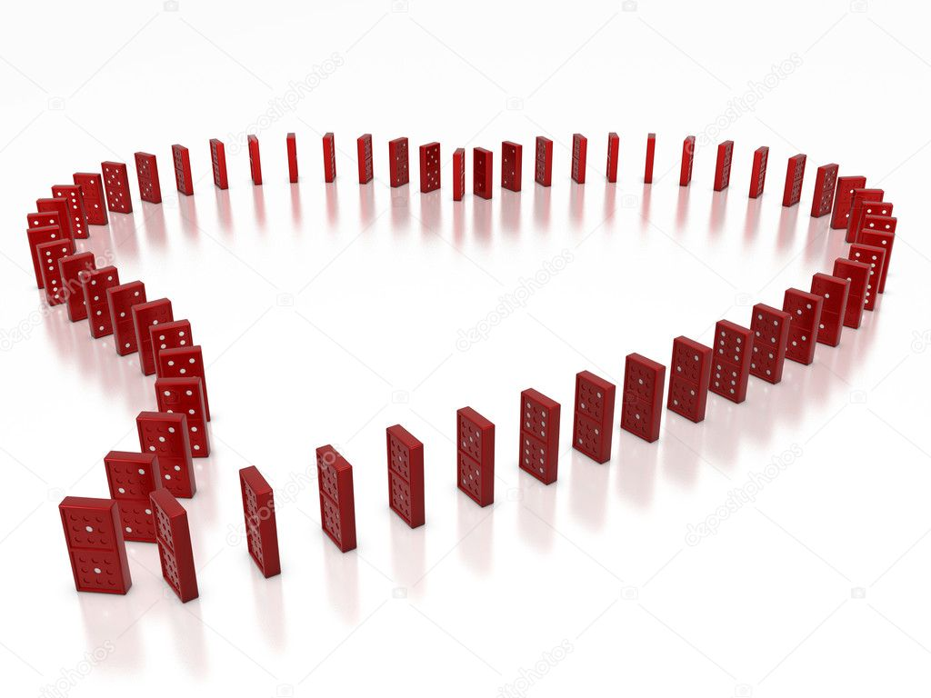 Red domino objects compose in heart shape — Stock Photo #2037485