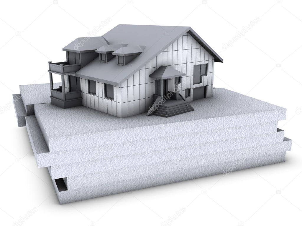 House with polystyrene on top of polystyrene blocks — Stock Photo #2038189
