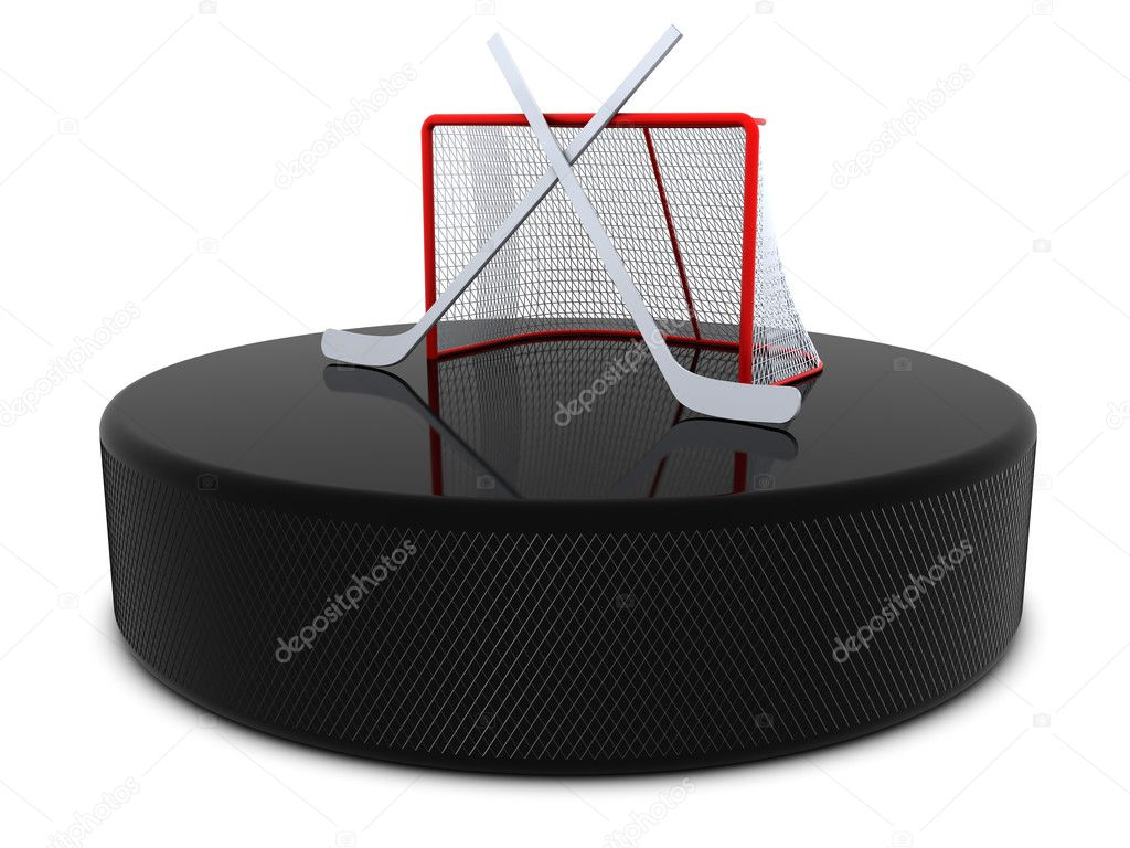 Hockey sticks and goal on the puck — Stock Photo #2061872