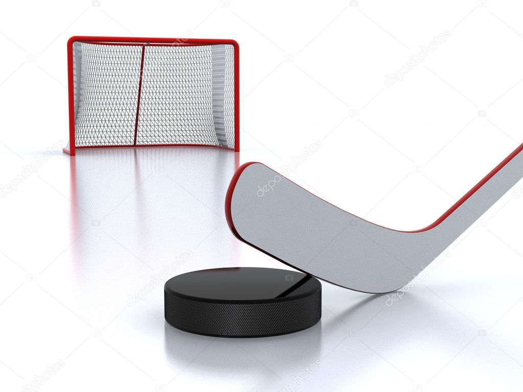 Hockey sticks, black puck and red goal — Stock Photo #2061975