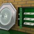 Safe deposit in wall with dollars - Stock fotografie