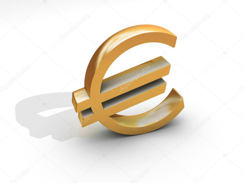 Euro symbol in gold metal isolated on white — Stock Photo #2077001