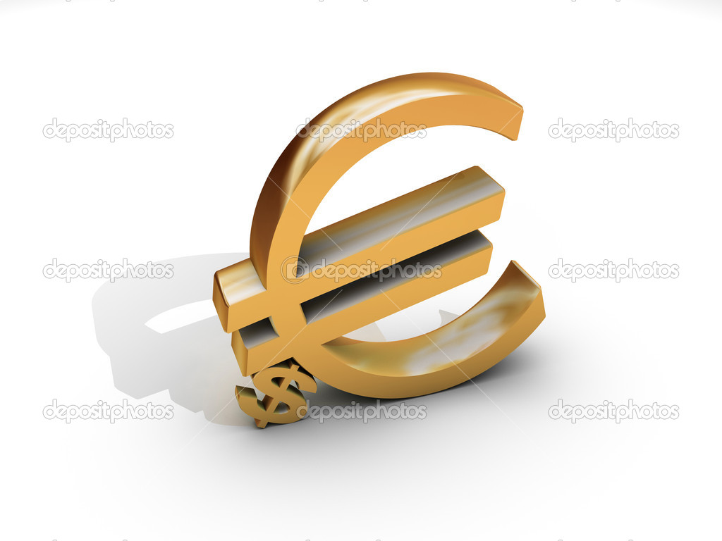 Euro and dollar symbol in gold isolated on white — Stock Photo #2077218