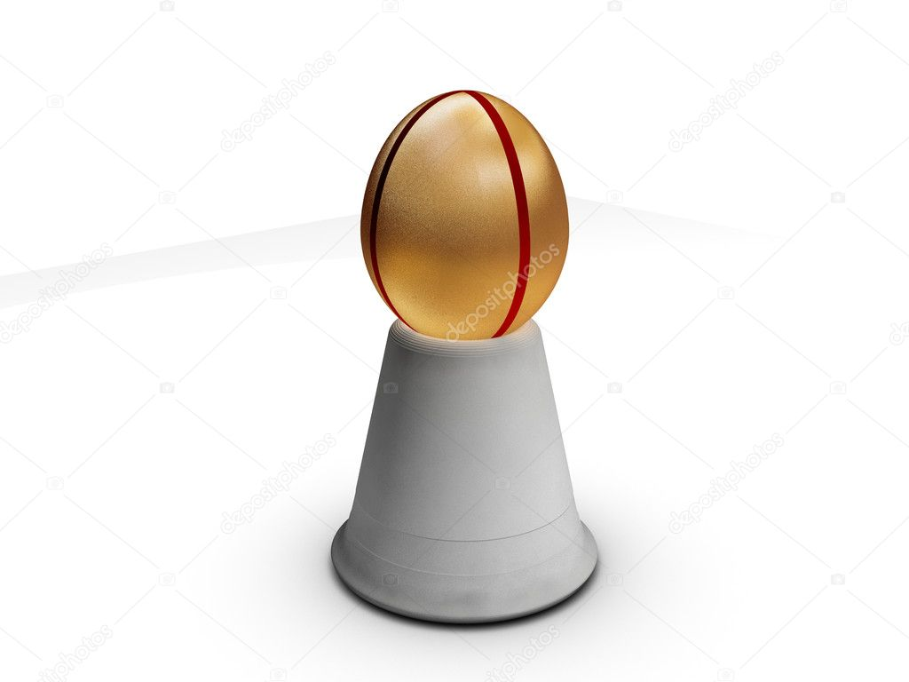 Golden egg with red stripes in holder — Stock Photo #2079271