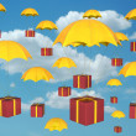 Parachute and giftbox — Stock Photo #2086620