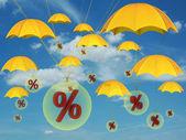 Percent in balloon — Stock Photo