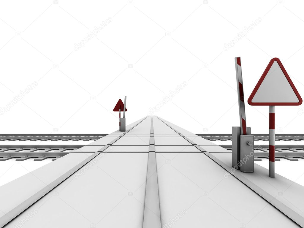 Opened railway crossroad with sign and ramp — Stock Photo #2086411