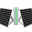 图库照片: Battery with indicators and solar panels