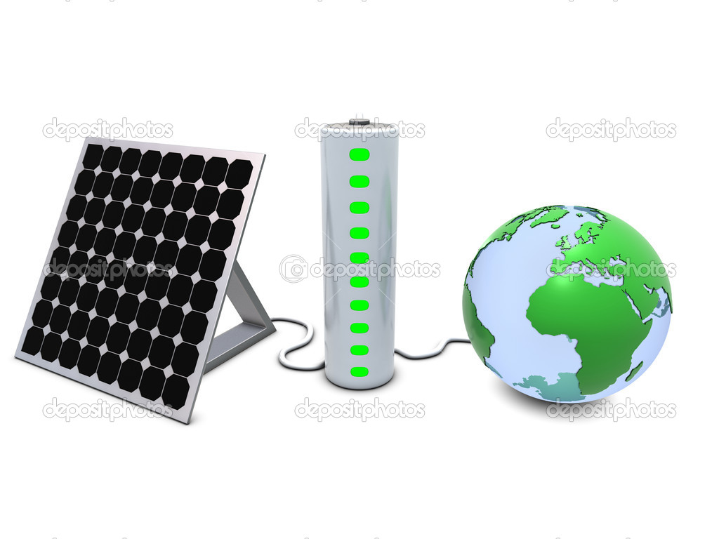 Earth, solar panel and battery isolated on white  Stock Photo #2323823