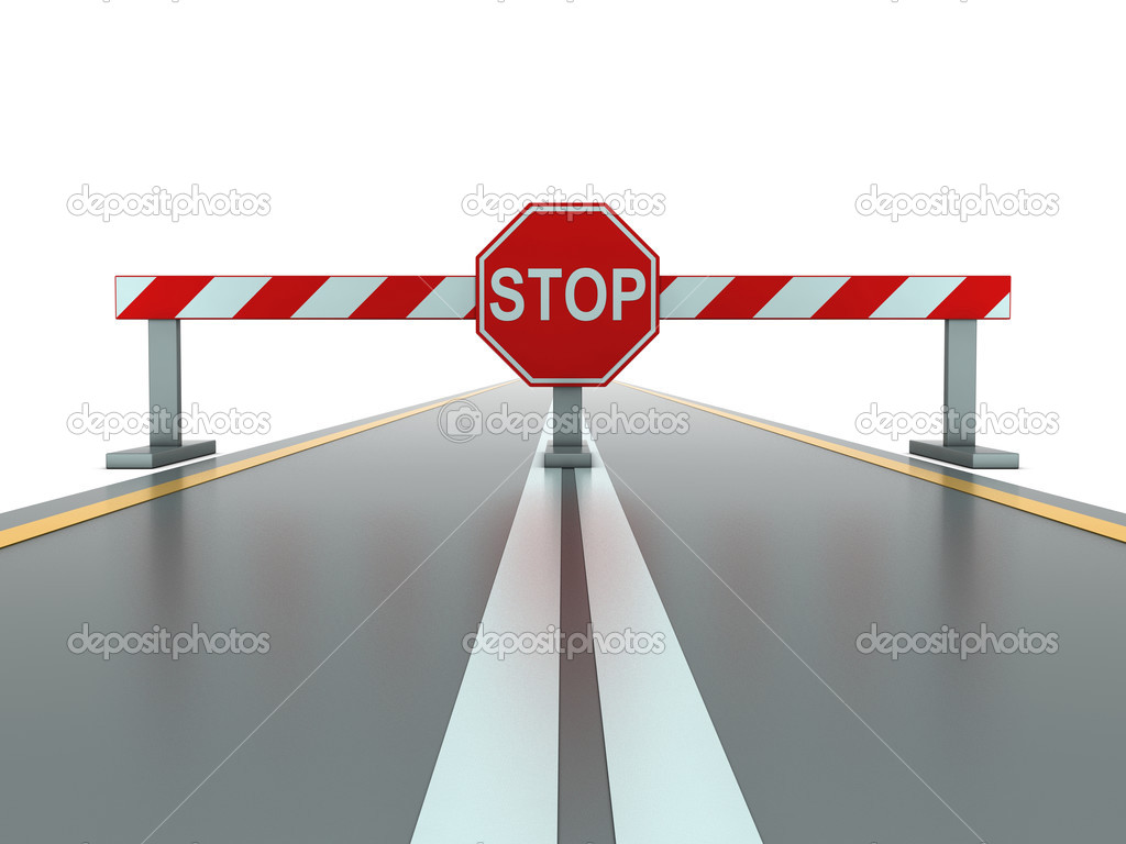 Segment of closed road with stop sign  Stock Photo #2438920
