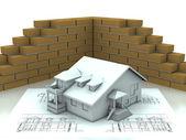 Projekt domu z ściana — Zdjęcie stockowe