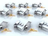 Houses and keys — Stock Photo