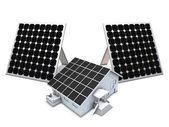 Panele słoneczne i modelu dom — Zdjęcie stockowe