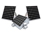 Solar panels and house model — Foto de Stock
