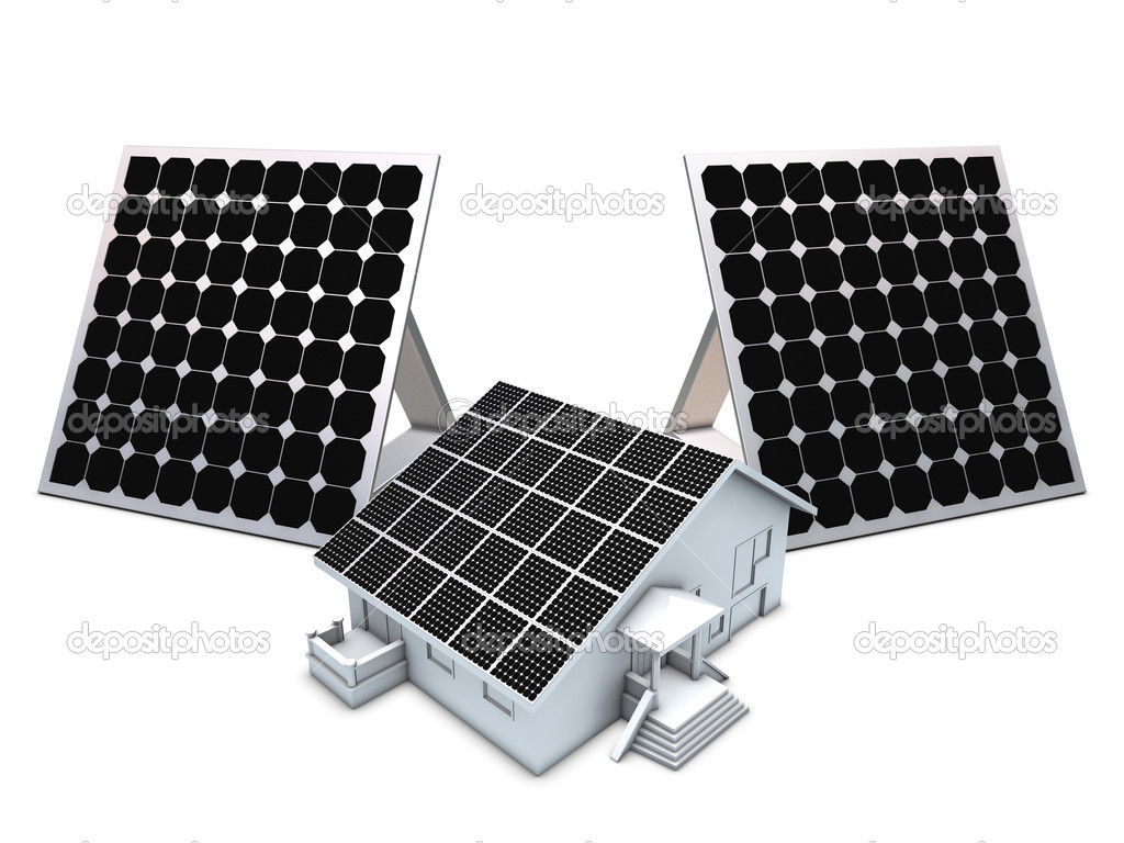Solar panels and house model — Stock Photo © desert_fox99 #2552703