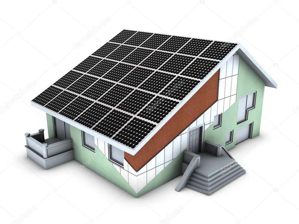 House model with polystyrene block and solar panels isolated on white background — Stock Photo #2558649