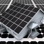 House on solar panels — Stock Photo